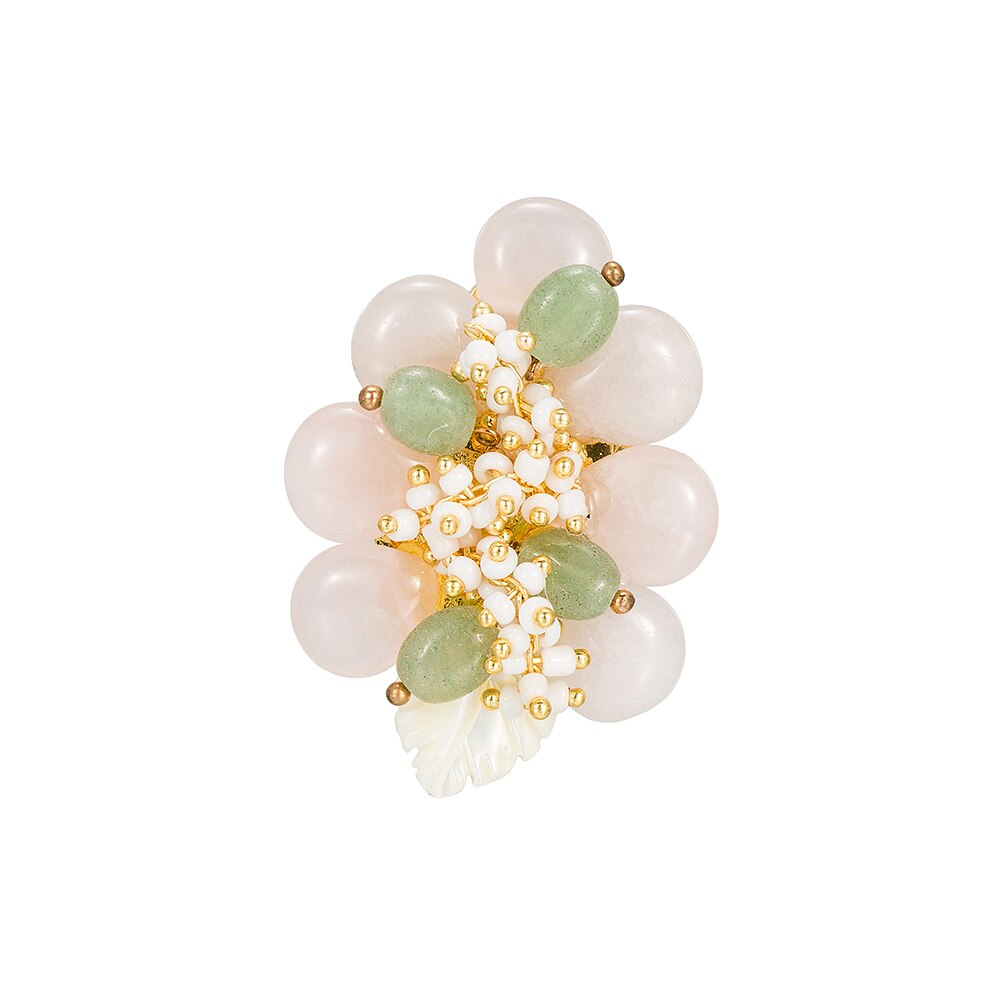 Rose Quartz Flower Brooch with Aventurine gemstone