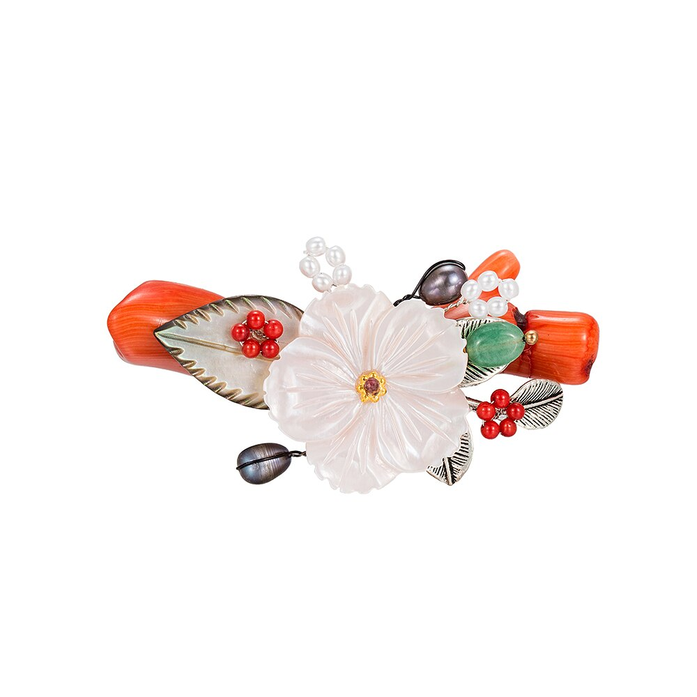 Handmade Floral Brooch with Coral