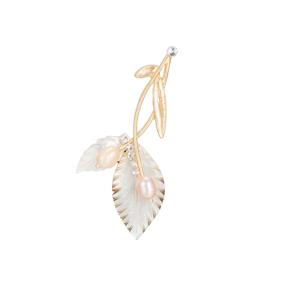 Gold Plated Double Pearl Leaf Brooch