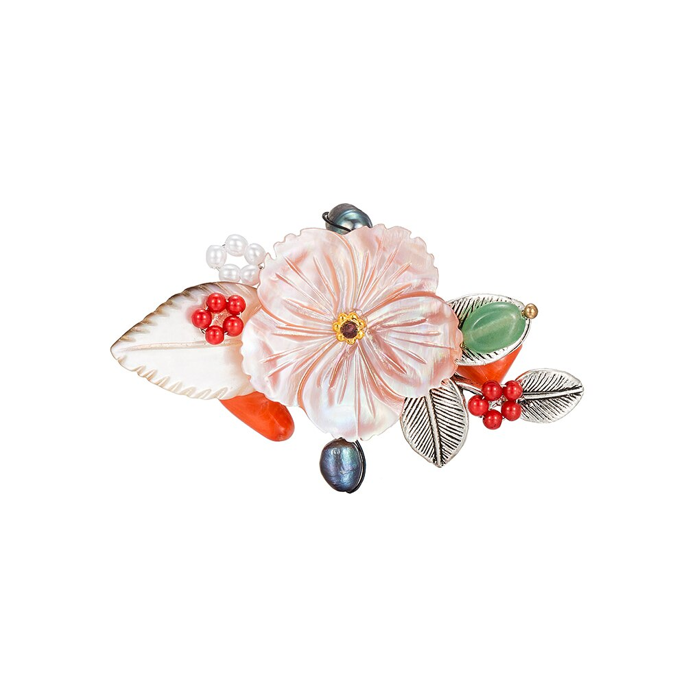 Floral Bouquet Brooch with Coral
