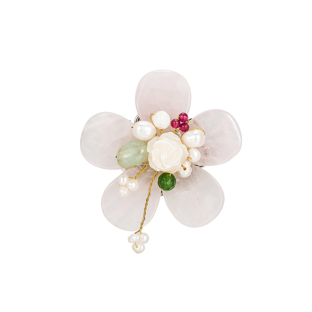 Gold Plated Floral Gemstone Brooch