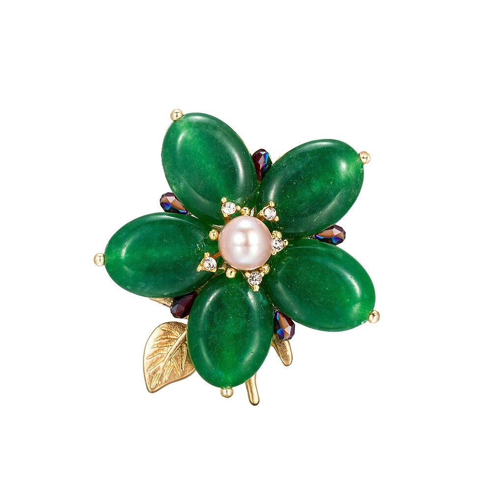 Emerald Flower with Single Stone Pearl Brooch
