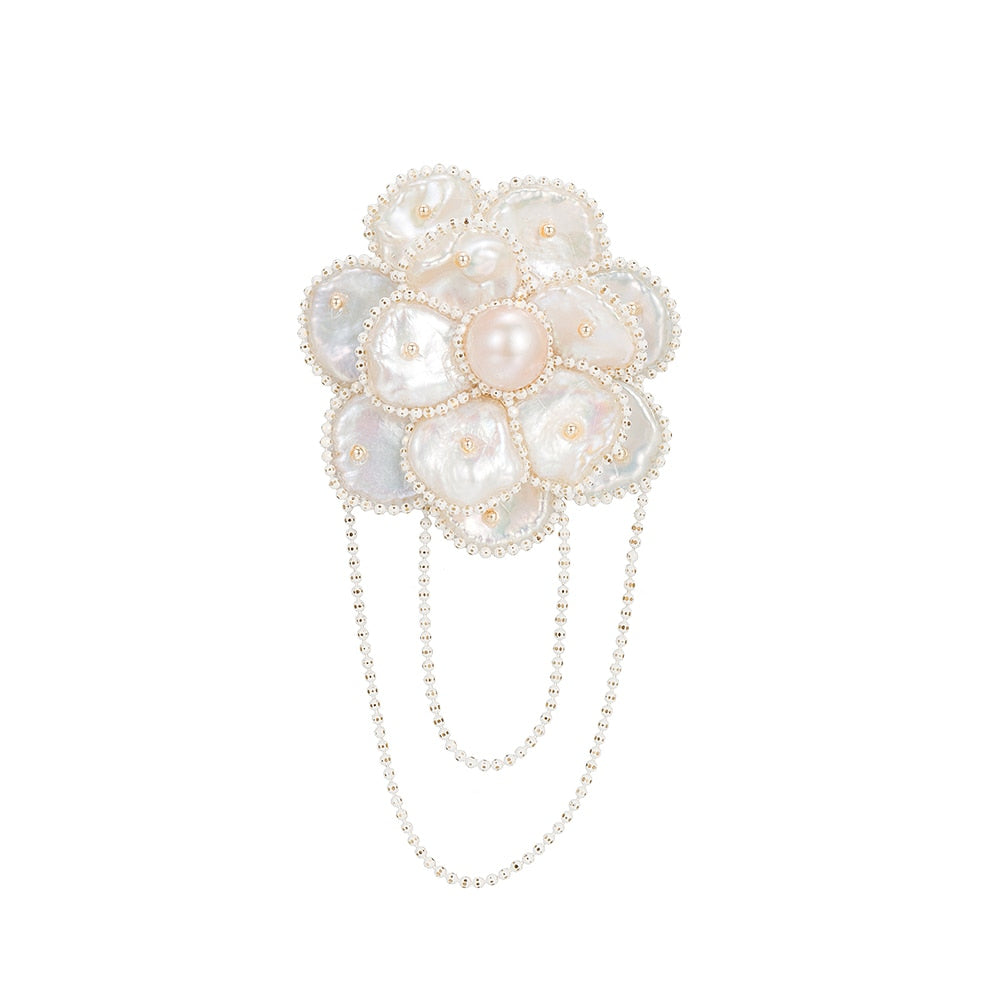 Pink and White Flat Round Freshwater Pearl Flower Brooch