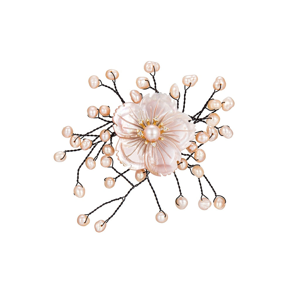 Flower with Pearl Branches Brooch