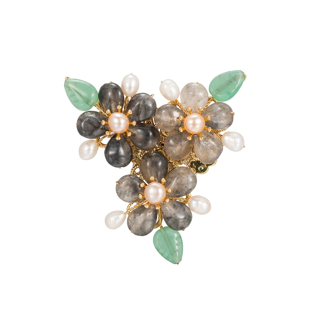 Triple Green Quartz Flower with Freshwater Pearl Brooch