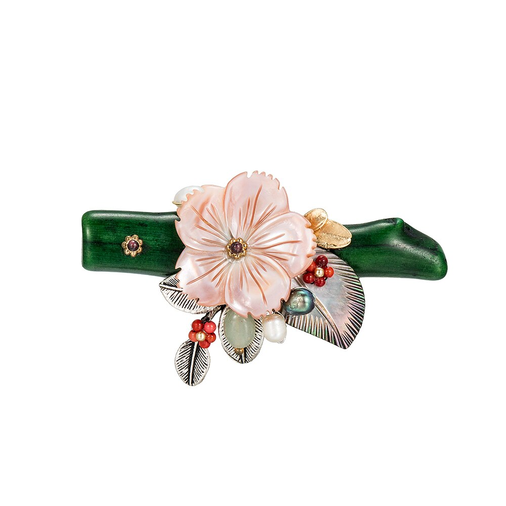 Green Coral and Shell Flower Brooch