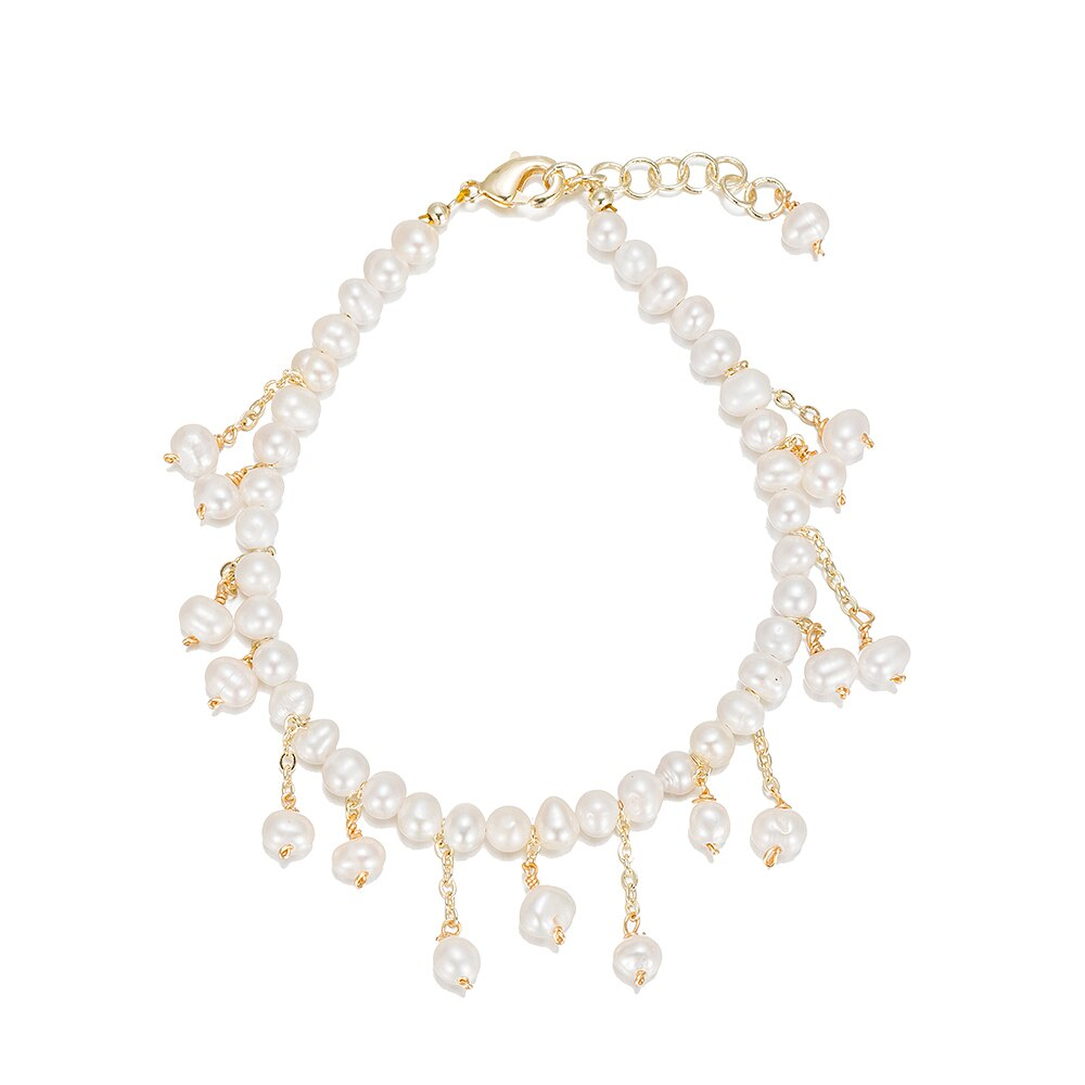 Gold Plated Beaded Bracelet with Pearl Charms