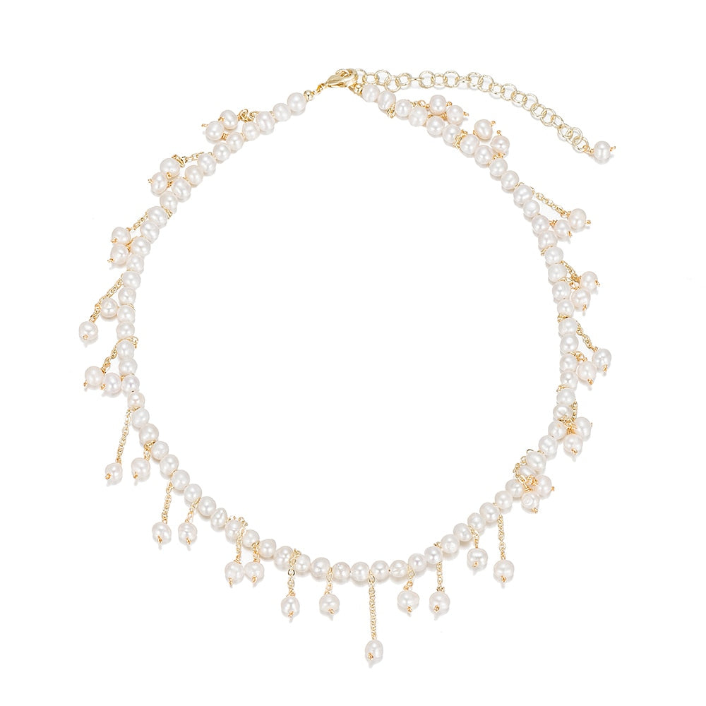 Gold Plated Beaded Pearl Dangly Necklace