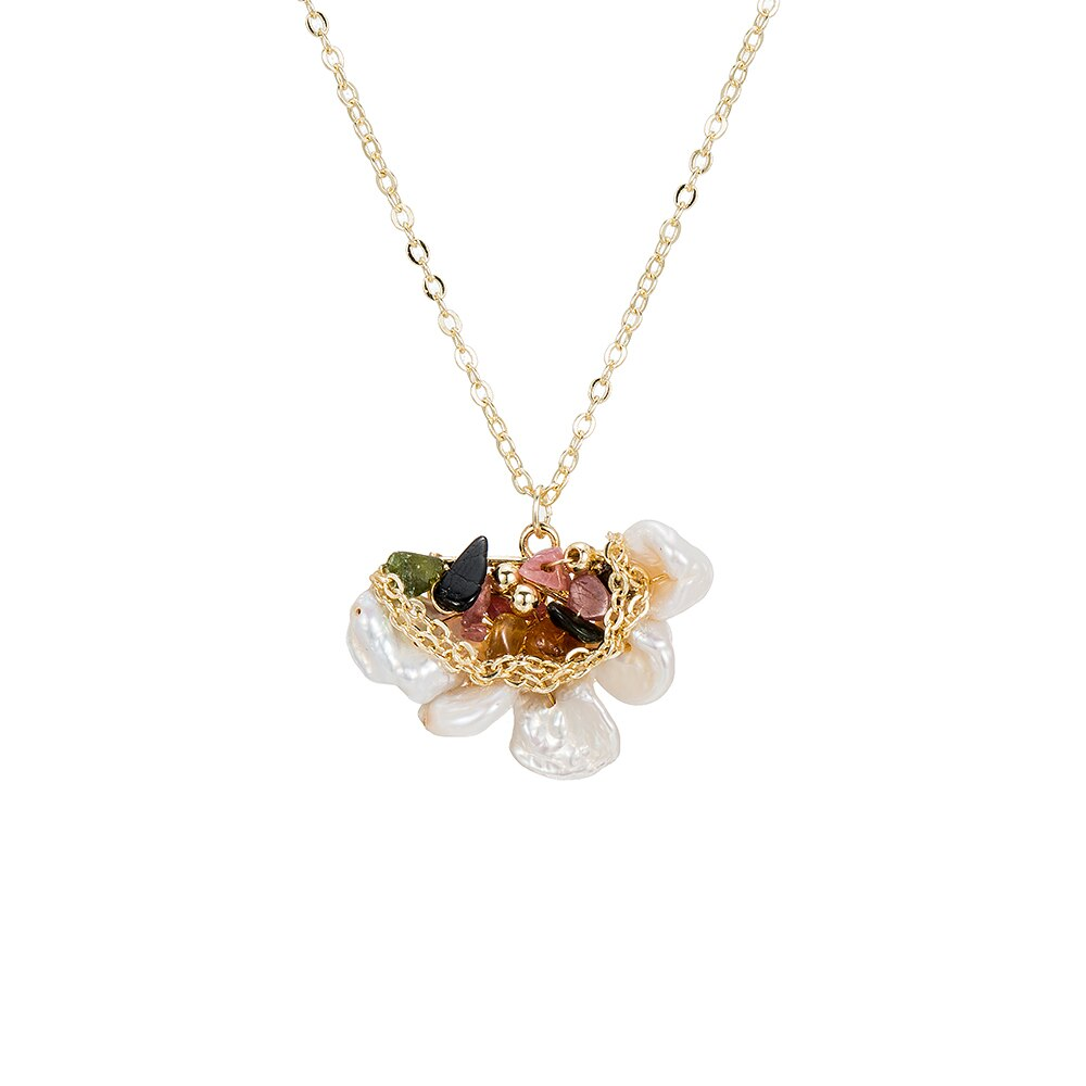 Gold Plated Pearl and Tourmaline Necklace