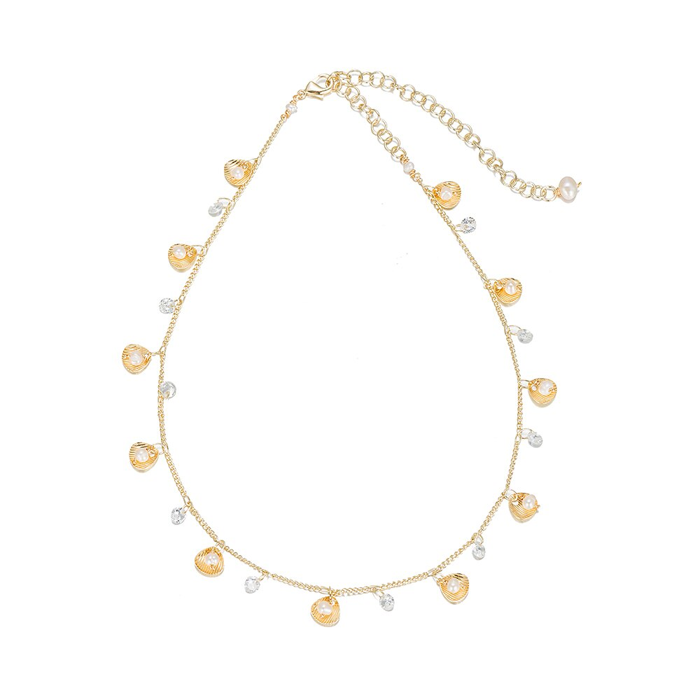 Gold Plated Beaded Pearl Necklace