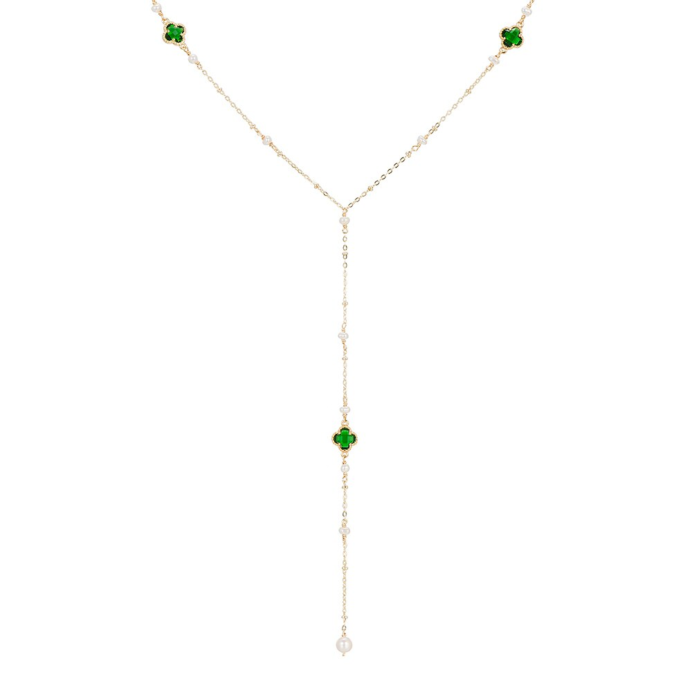 Gold Plated Clover and Pearl Necklace