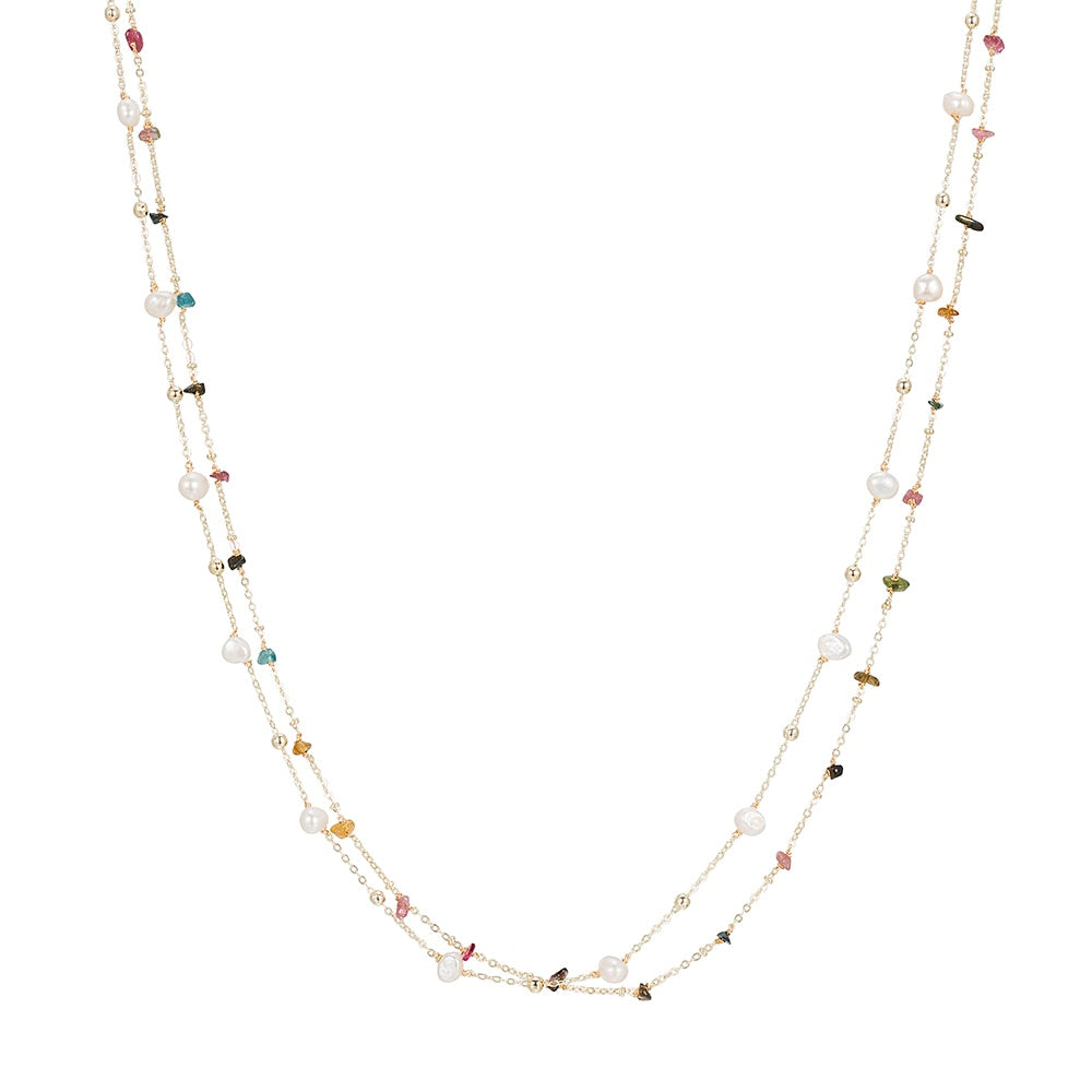 Gold Plated Bunch of Pearl and Tourmaline Necklace