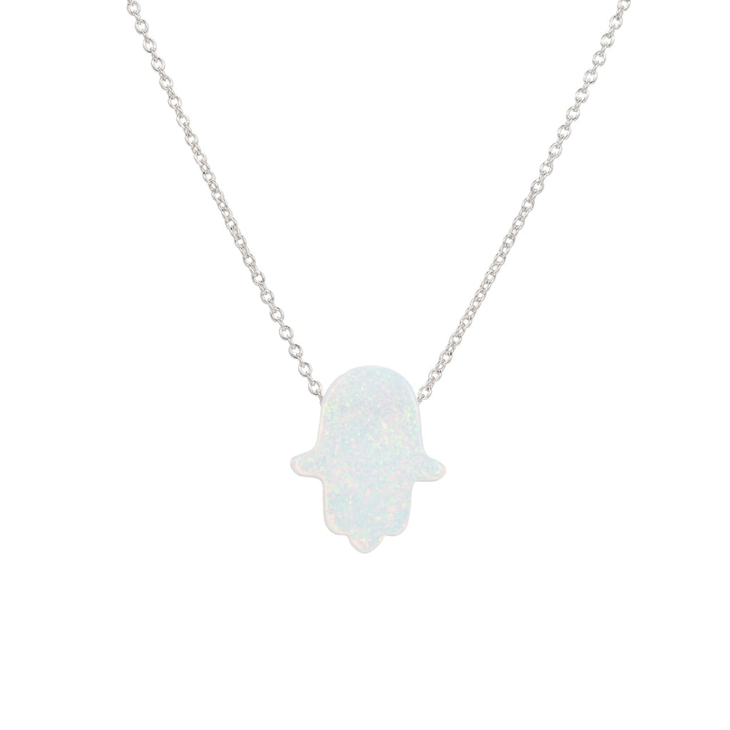 Sterling Silver White Opal Hand Necklace