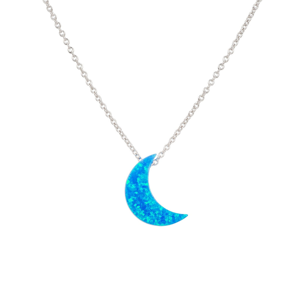 Sterling Silver Crescent Moon Opal Necklace