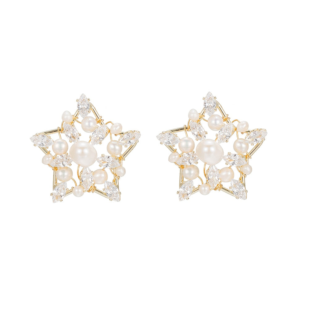 Gold Plated Pearl Star Earrings