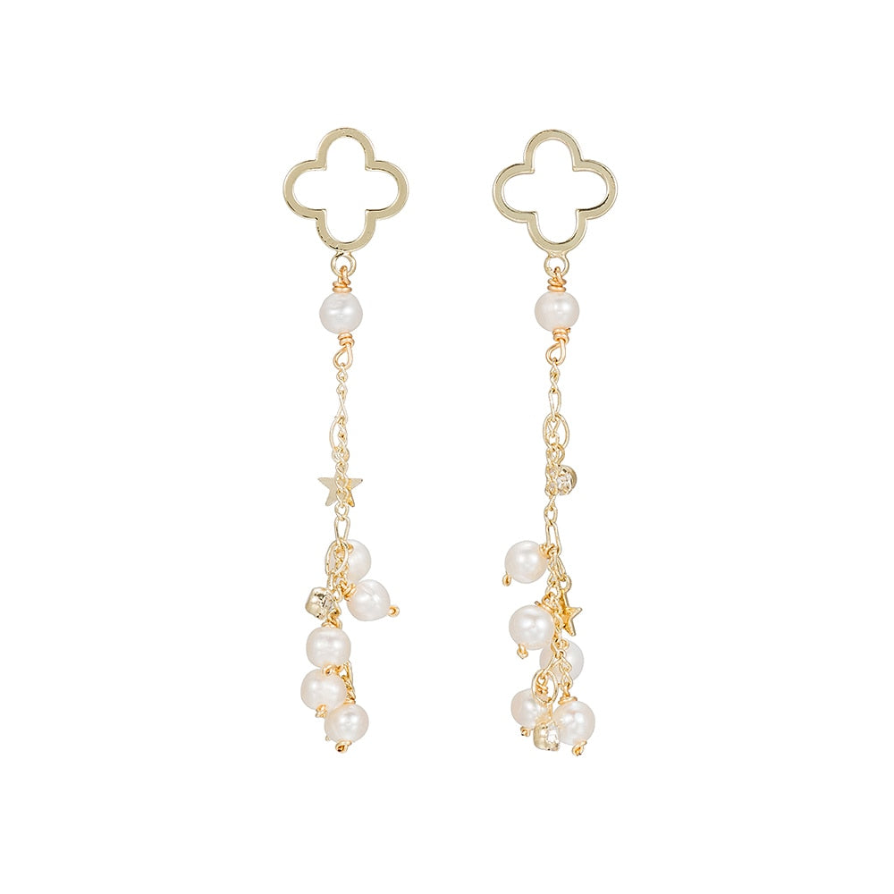 Gold Plated Clover with Drop Pearl and Stars Earrings