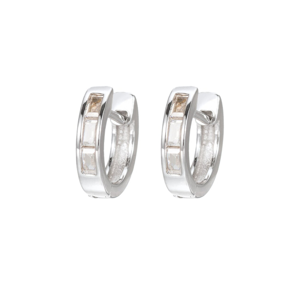 Sterling Silver Huggie Hoop Earrings with baguette CZ