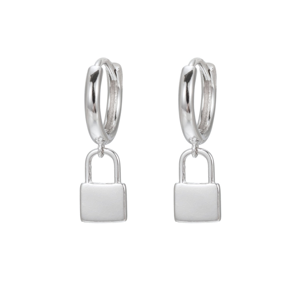 Sterling Silver Lock Huggie Earrings