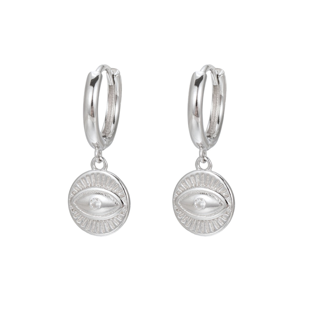 Sterling Silver Eye Huggie Earrings