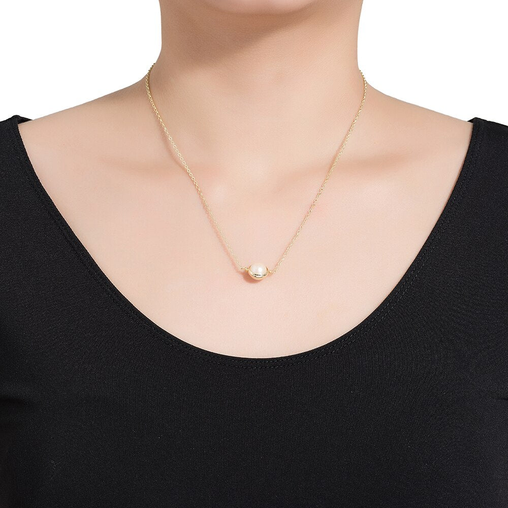 Gold Plated Single Stone Pearl Necklace