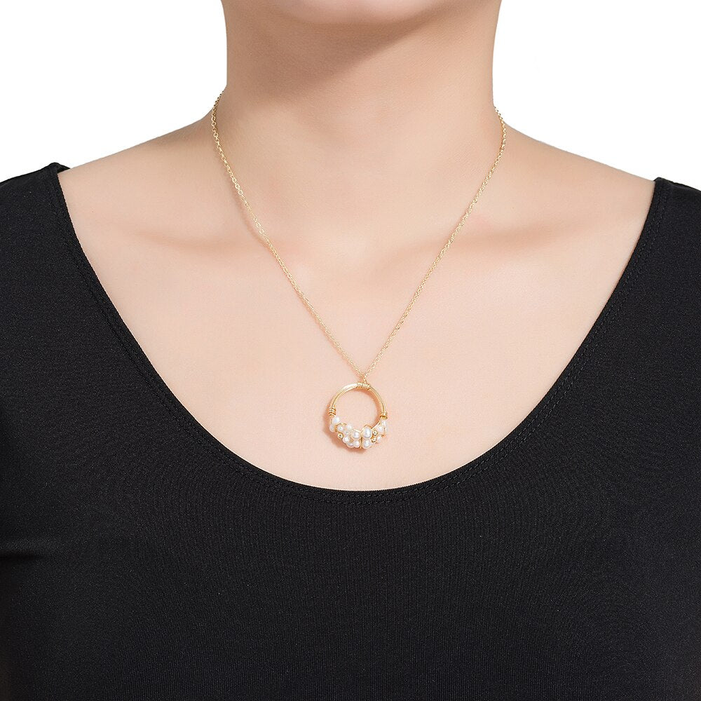 Pearl Bucket Ring Shape Necklace