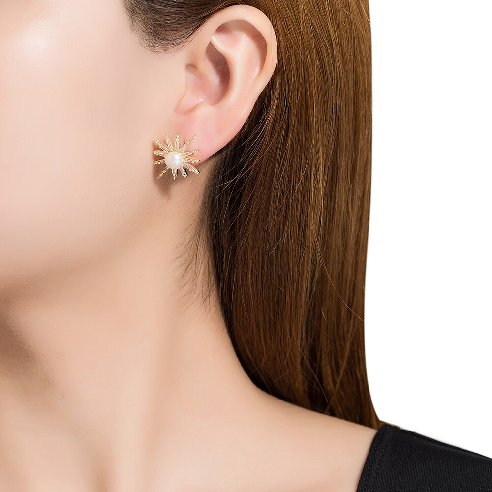 Gold Plated Single Stone Pearl Stud Earrings