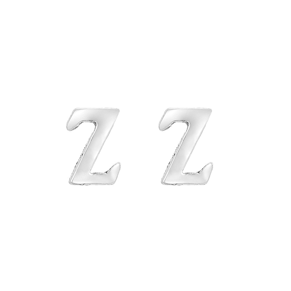 Z Initial Stud Earrings Sterling Silver
