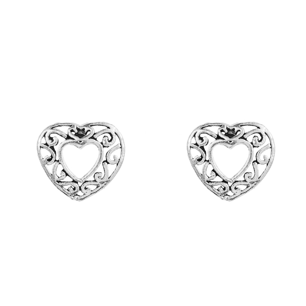 Sterling Silver Heart with Design Stud Earrings