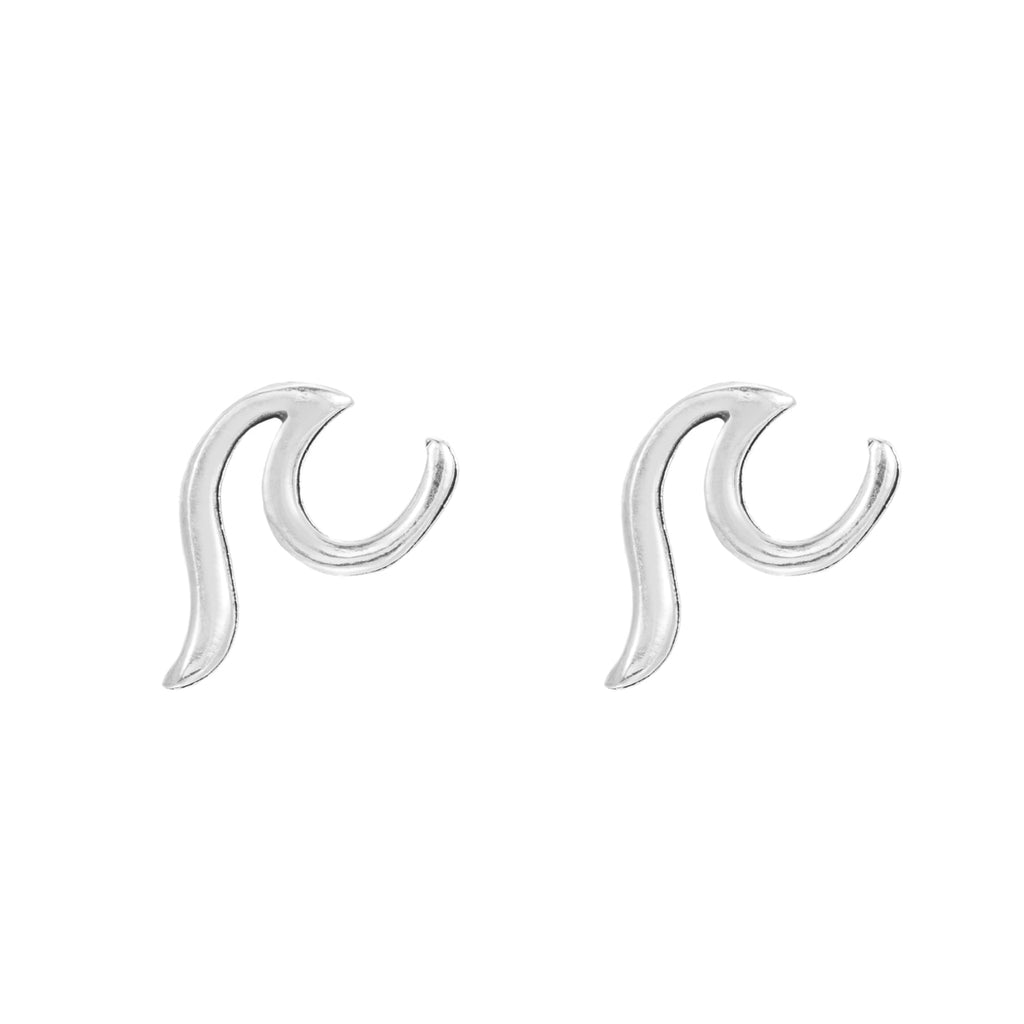 Sterling Silver Wave Stud Earrings