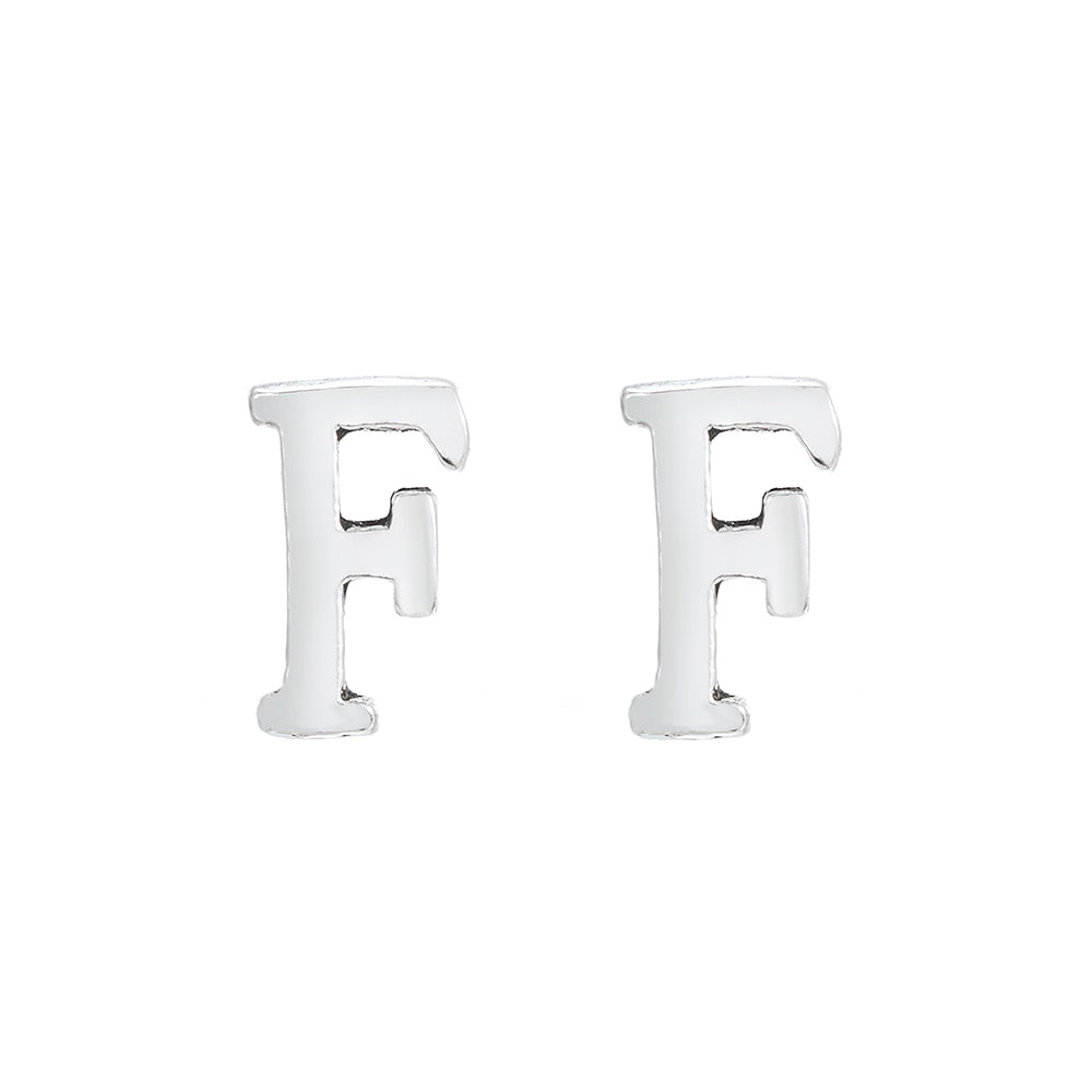 F Initial Stud Earrings Sterling Silver