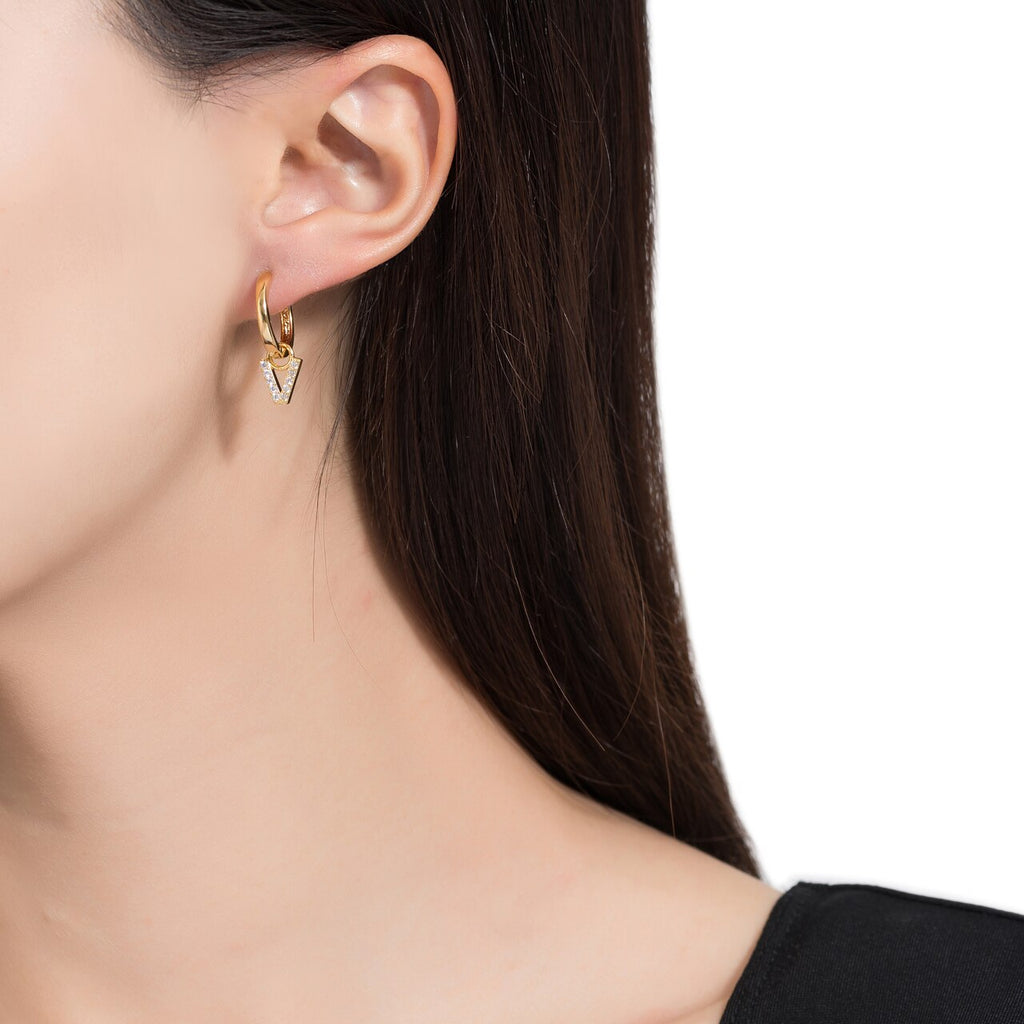 Gold Plated Dangly V Initial CZ Earrings