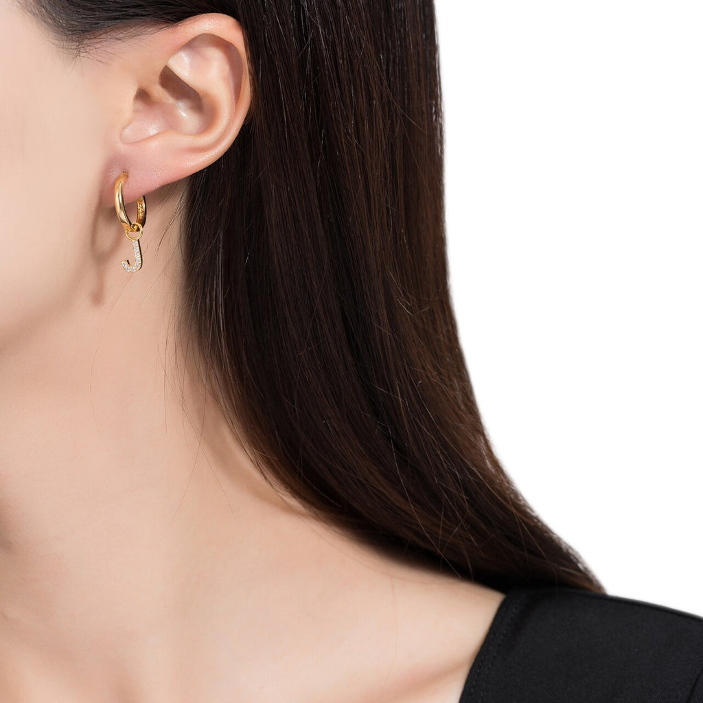 Gold Plated Dangly J Initial CZ Earrings