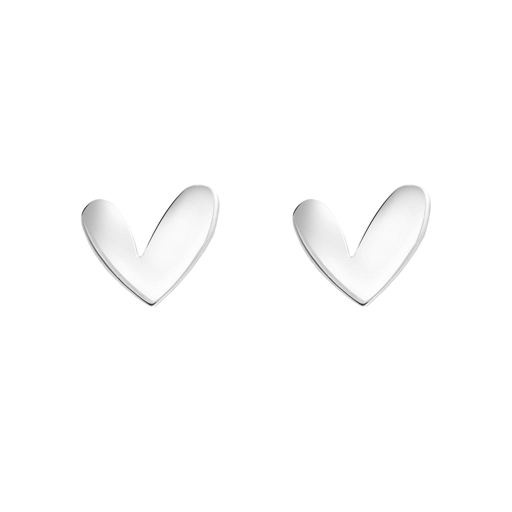 Sterling Silver Funky Heart Stud Earrings