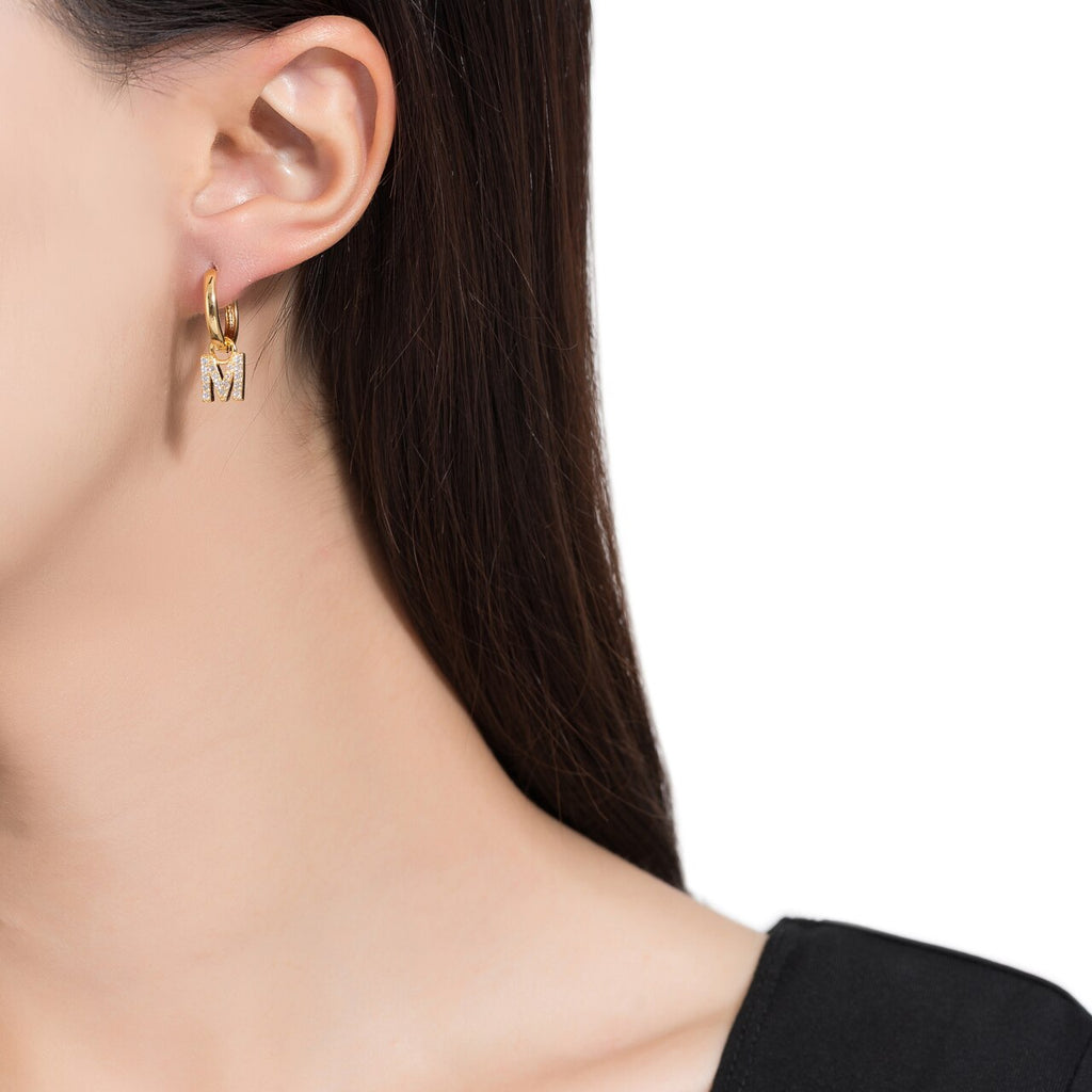Gold Plated Dangly M Initial CZ Earrings