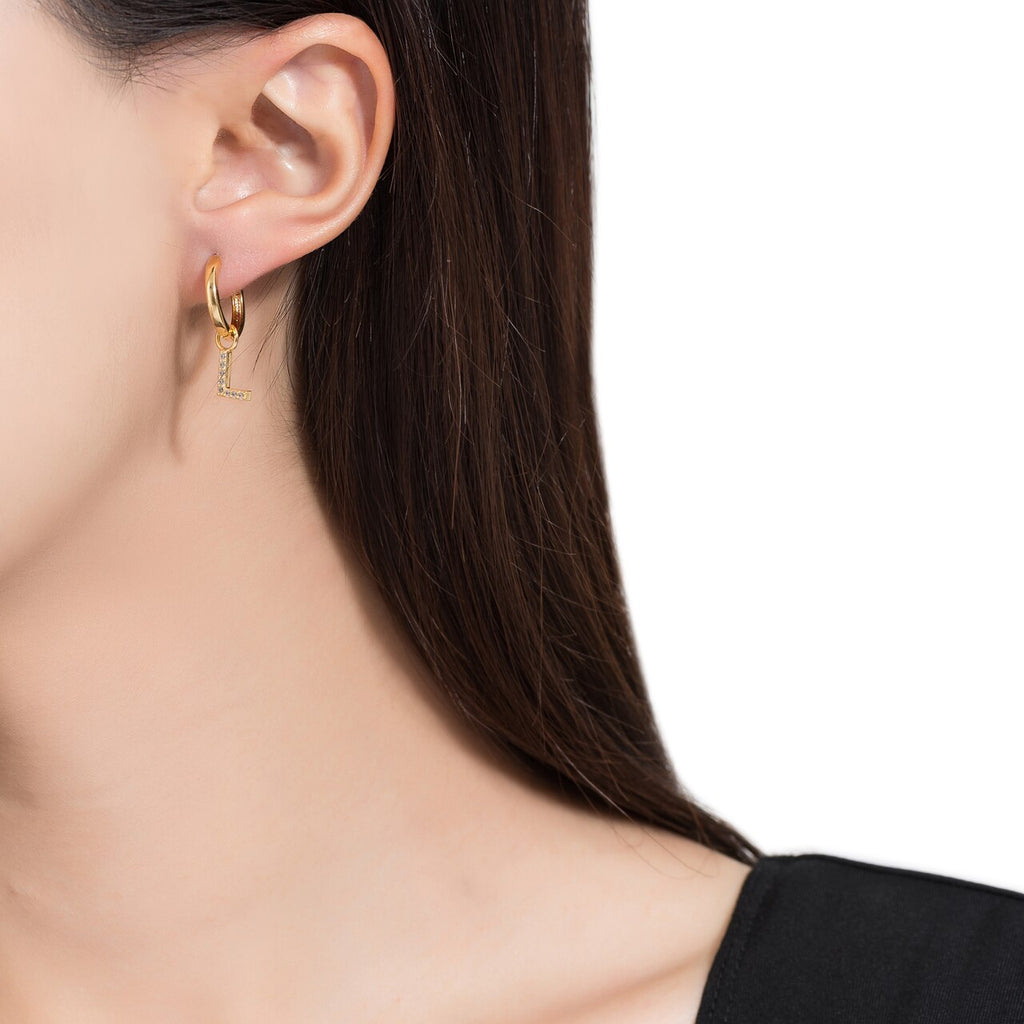 Gold Plated Dangly L Initial CZ Earrings
