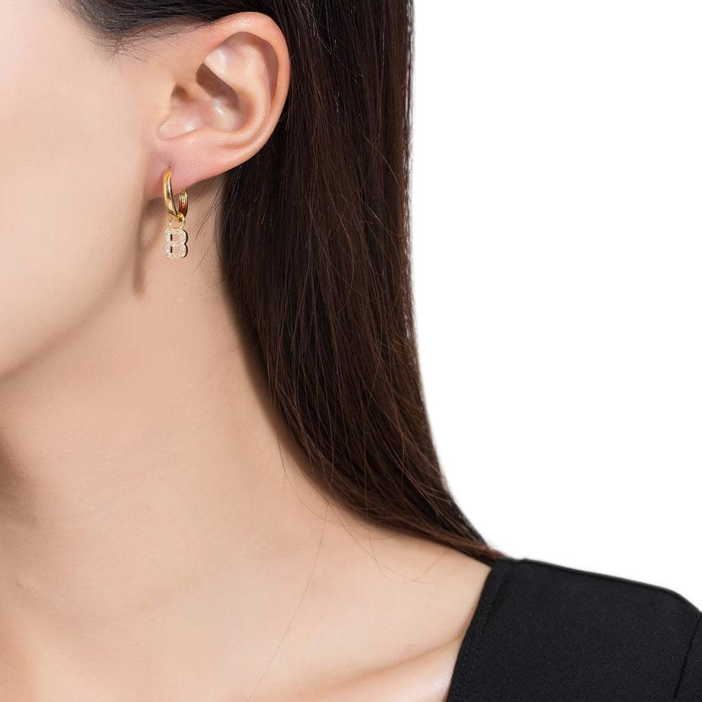 Gold Plated Dangly B Initial CZ Earrings