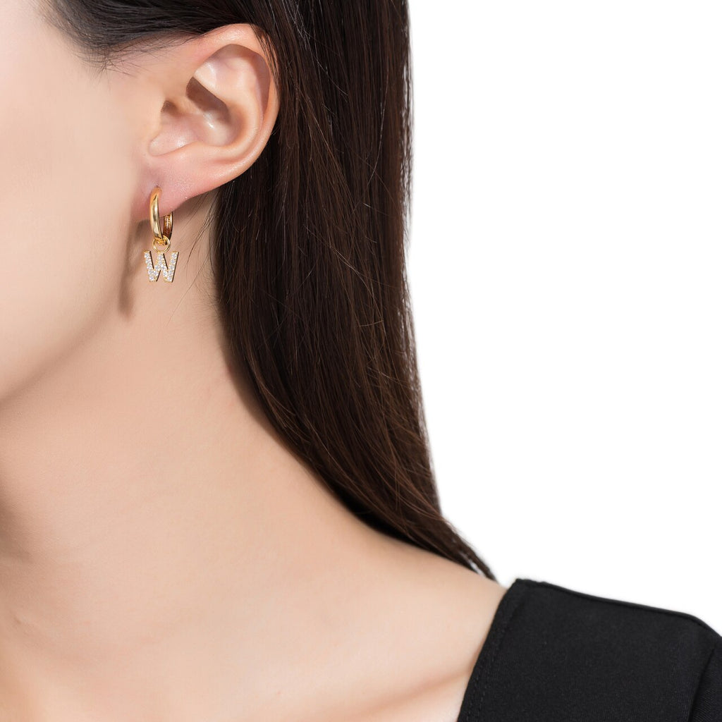 Gold Plated Dangly W Initial CZ Earrings