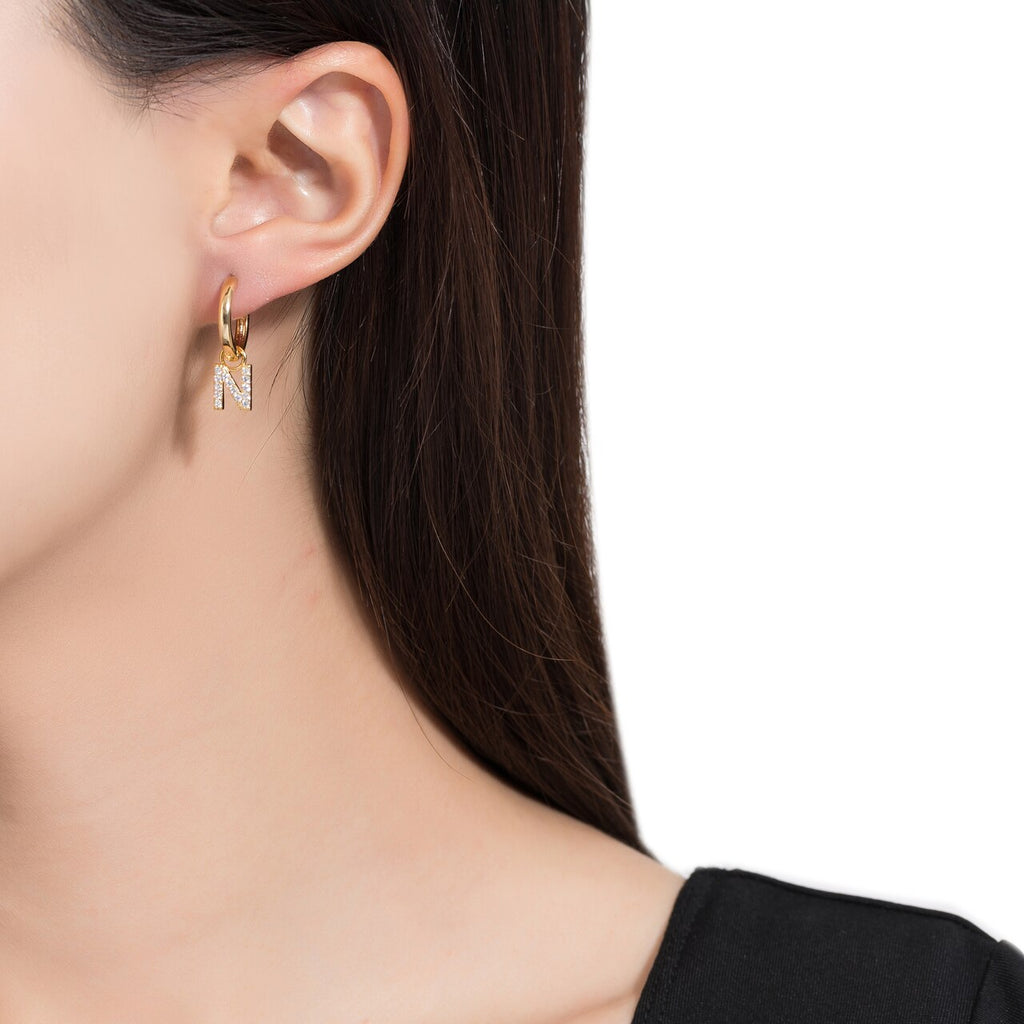 Gold Plated Dangly N Initial CZ Earrings