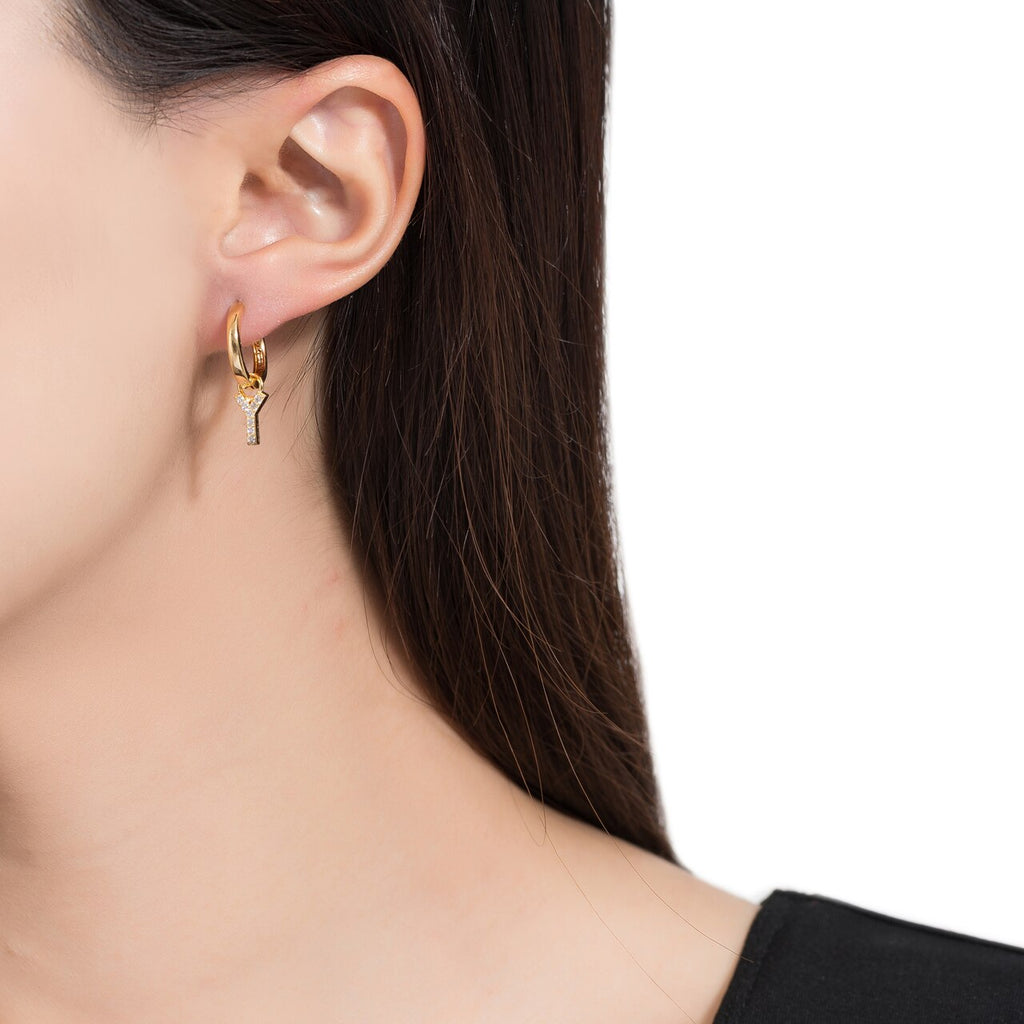 Gold Plated Dangly Y Initial CZ Earrings