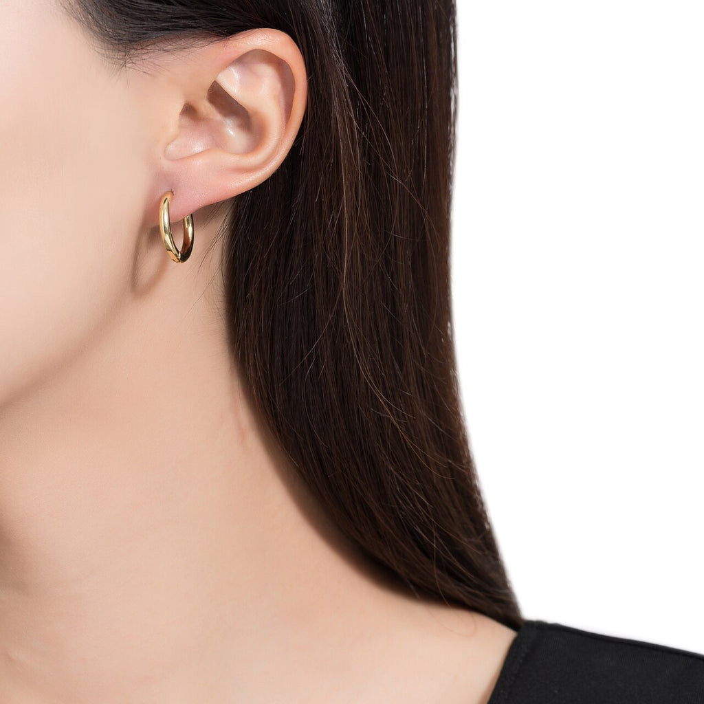 Gold Plated Round Plain Hoop Earrings