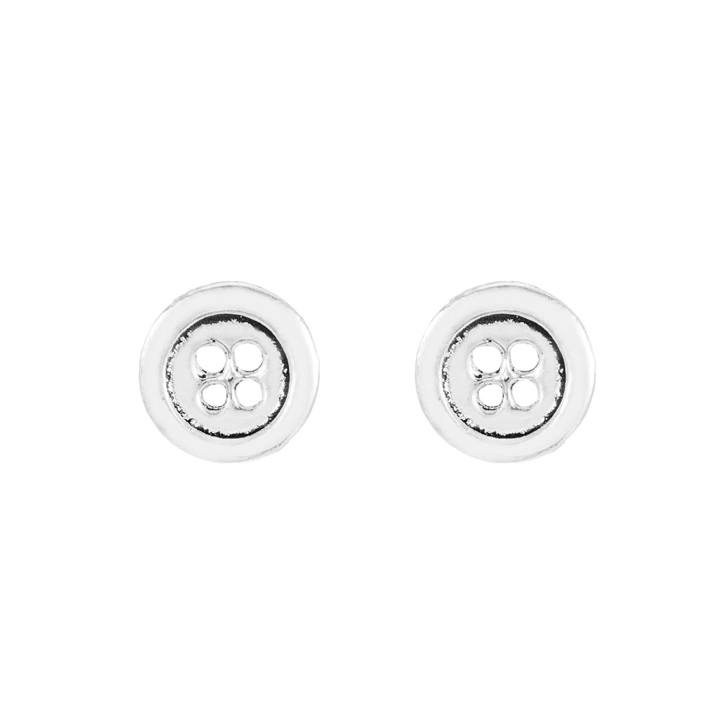 Sterling Silver Button Stud Earrings