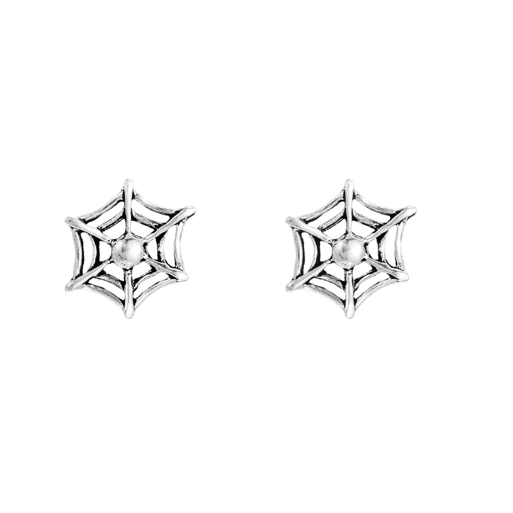 Sterling Silver Spider Web Stud Earrings