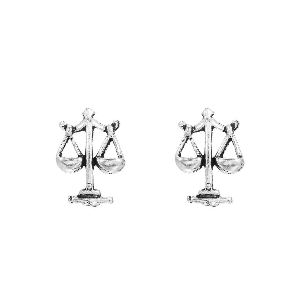 Sterling Silver Libra Stud Earrings