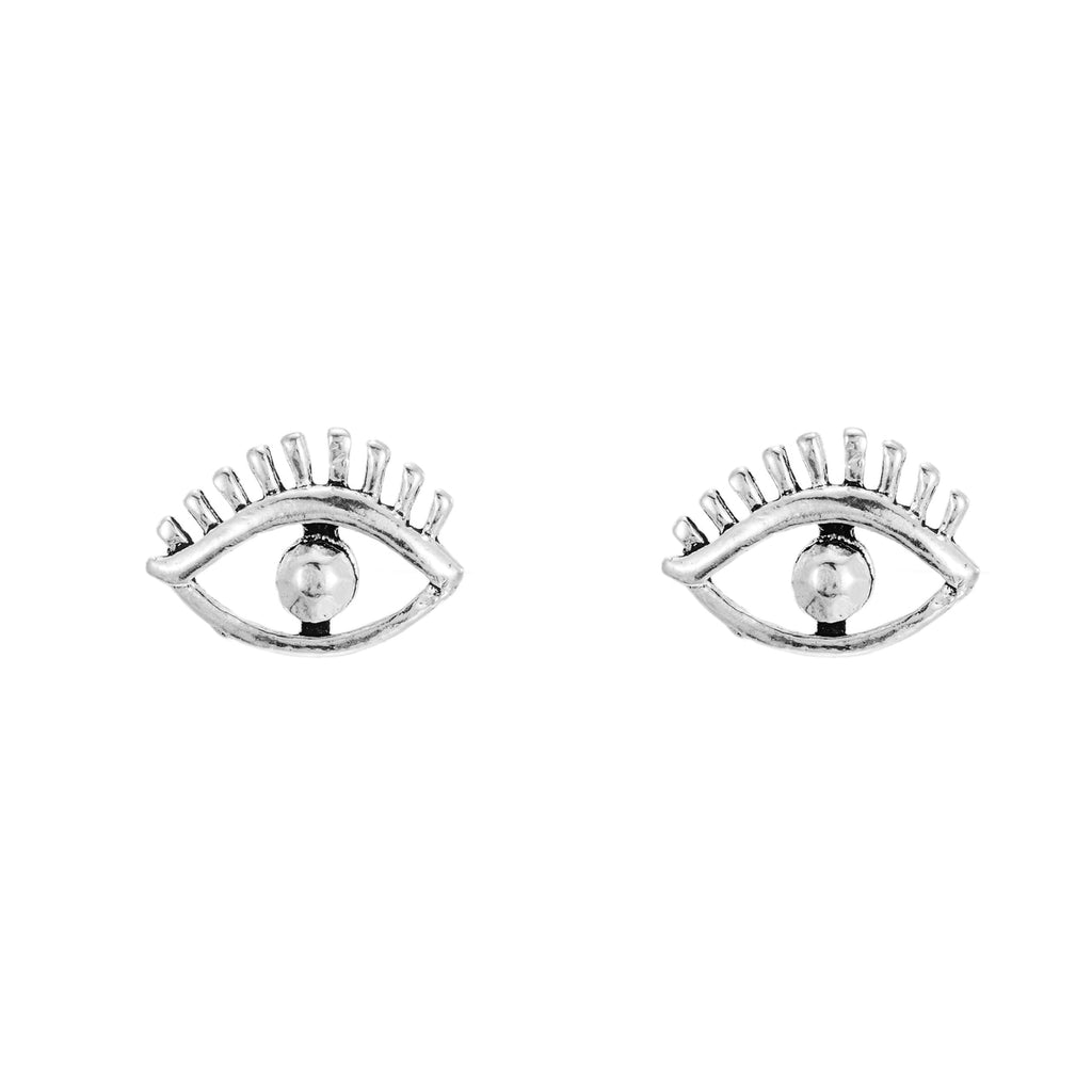 Sterling Silver Eye with Lashes Stud Earrings