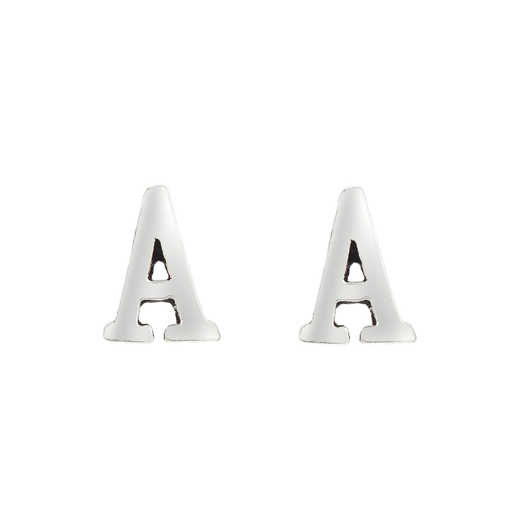 A Initial Stud Earrings Sterling Silver