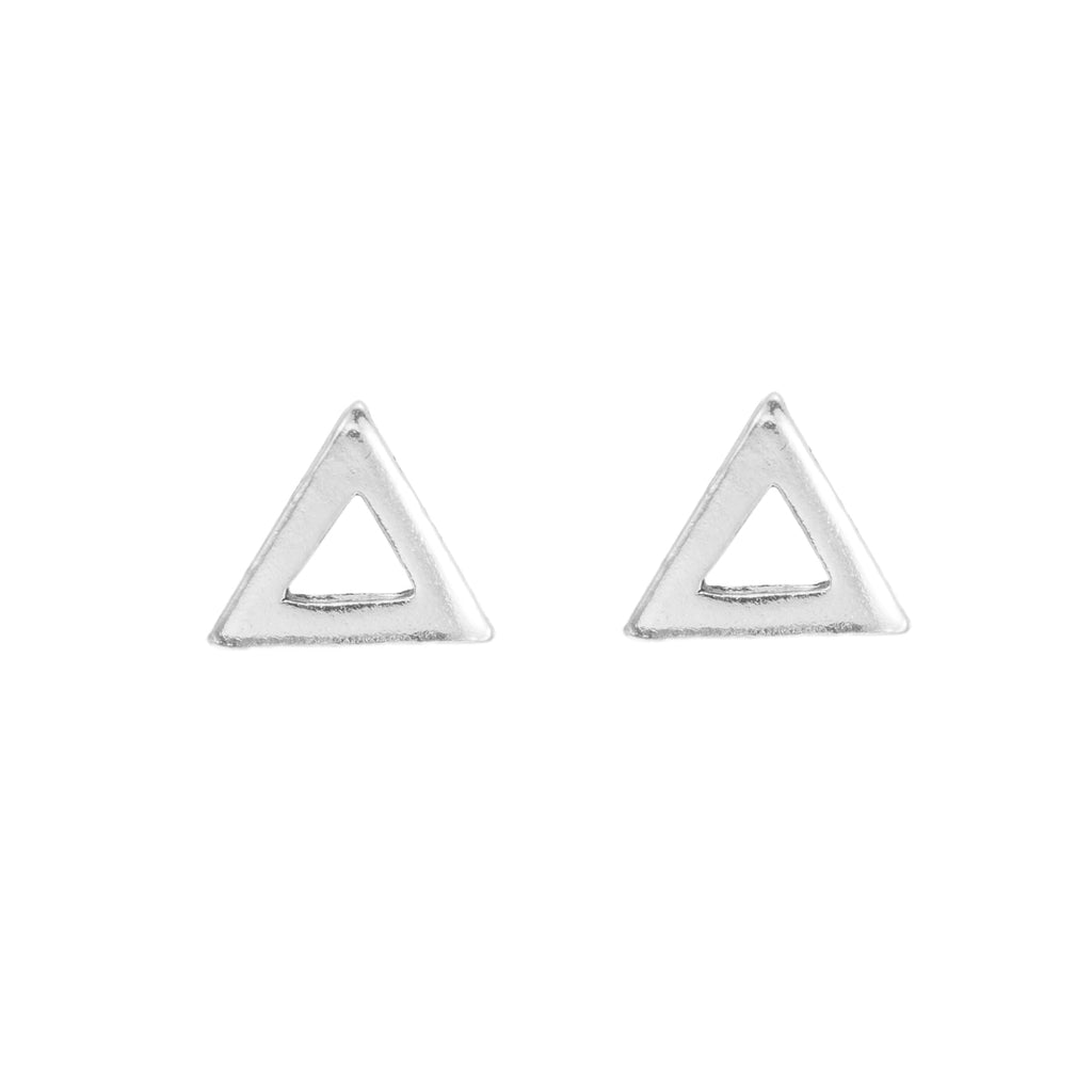 Sterling Silver Triangle Line Stud Earrings