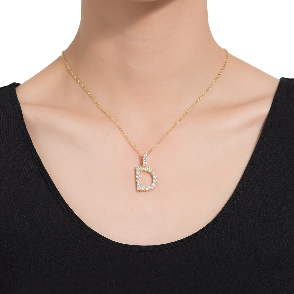 D Initial Gold Plated Necklace with CZ