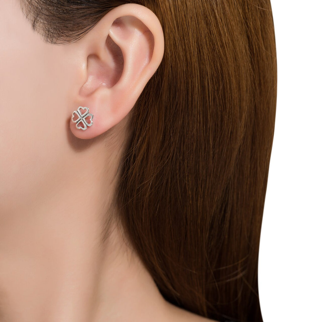Sterling Silver Clover with Heart Stud Earrings