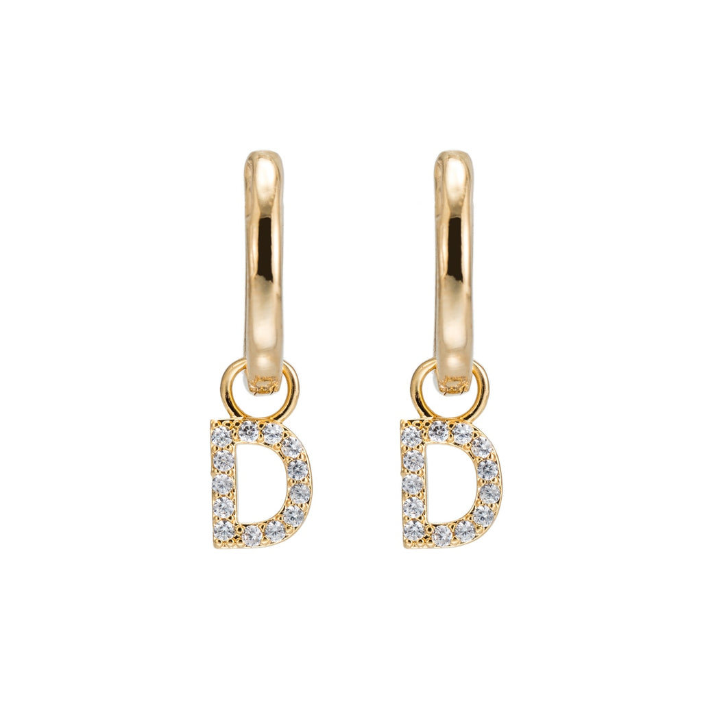 Gold Plated Dangly D Initial CZ Earrings