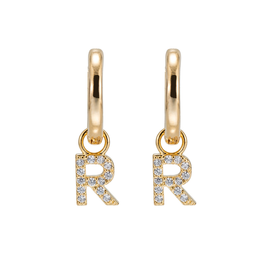Gold Plated Dangly R Initial CZ Earrings